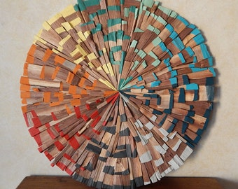 Colorful Mid Century Modern Wood Art, Handmade Ready to Ship