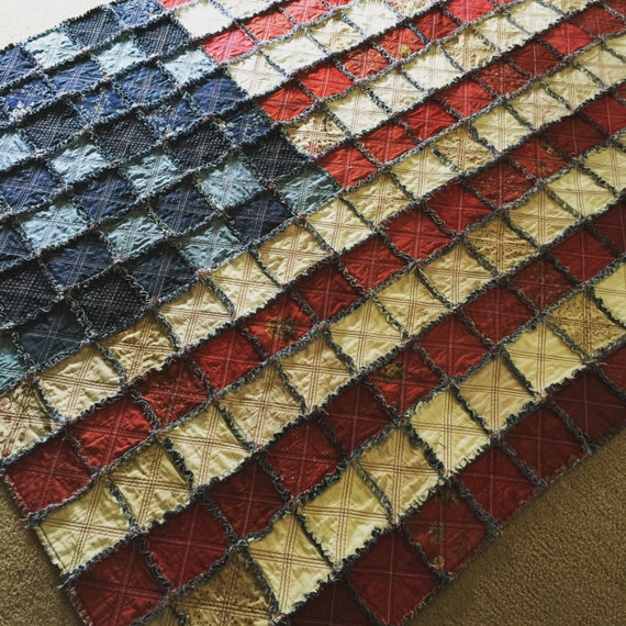 American Flag Rag Quilt Kit - Pattern and Aurifil Thread