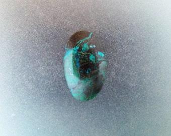 Gem silica Chrysocolla with malachite freeform cabochon