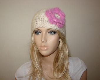 cream knit headband pink flower, off white hand knit flower crochet headband, ivory ski head wrap, ear warmer, head scarf woman