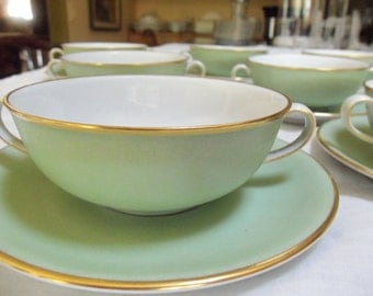 Vintage Bowls /8 Cream Soup Bowls/Nymphenburg /Underplates/ Mint Green/Gold Trim/Western Germany/Wedding Gift/Dinner Party/Christmas Gift