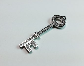 Key CZ Rhodium Plated Charm 38.5mm