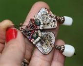 Rustic Boho *Alegria Alegria Series* earrings N222- bohemian jewelry . beaded earrings . wire wrapped jewelry . pink composition . vintage