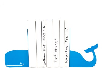 ArtisticBookends - Whale light blue - FREE SHIPPING stylish functional and sturdy metal decor to hold your books