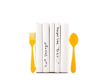 Unique Metal Kitchen Bookends Fork and spoon // decorative book holders // Functional kitchen decor // modern home // FREE SHIPPING