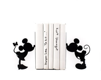 Children Bookends Mickey Mouse / Romantic / Disney inspired book holders for kids room / Functional decor for modern nursery / Free Shipping