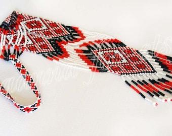 Traditional Ukrainian folk gerdan handmade beaded