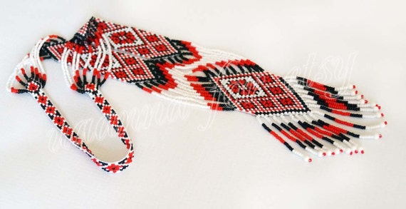 Traditional Ukrainian folk gerdan handmade beaded