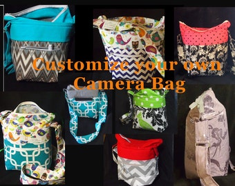 Customize Dslr bag, Dslr Camera Bag, Fits Nikon Canon Sony Olympus Pentax +, Slr camera purse, camera case, Camera Bags 6x5x8