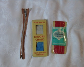 Vintage taylor dressmaker notions Destash metal zipper chalk red soutache braid