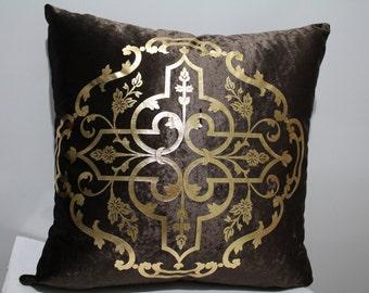 Turkish Ottoman Pillow Cover, Ottomans Pillow Case, Brown Pillow Cover , Palace Pillow Case, Palace Decor