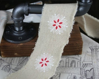 Frayed Edge Linen with Snowflake Ribbon, Christmas, 65mm, By the metre,