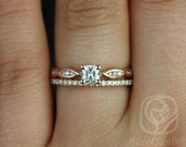Ember 4mm & Romani 14kt Rose Gold Infinity DNA Twist Cushion FB Moissanite and Diamonds Wedding Set (Other Metals and Stones Available)