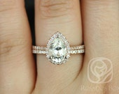 Tabitha 9x6mm 14kt Rose Gold Pear FB Moissanite and Diamonds Halo Wedding Set (Other metals and stone options available)