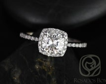 Barra 6mm 14kt White Gold Cushion FB Moissanite and Diamonds Halo Engagement Ring (Other metals and stone options available)