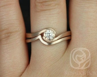 Vadim 5mm Satin Finish14kt Rose Gold Round Morganite Single Twist Wedding Set (Other metals and stone options available)