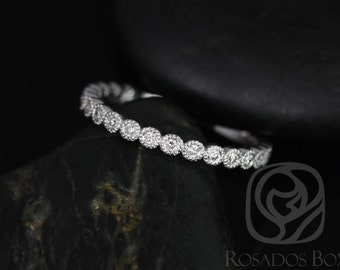 Petite Bubbles Platinum Diamond WITH Hand Milgrain Beading ALMOST Eternity Band (Available in Diamonds and Other Metals)
