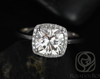 Bella 7.5mm 14kt White Gold Cushion F1- Moissanite and Diamond Halo Engagement Ring (Other metals and stone options available)