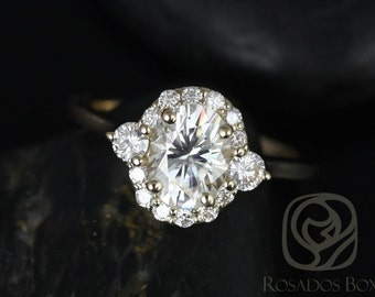 Rosados Box Britney 8x6mm 14kt Yellow Gold Oval F1- Moissanite and Diamonds Halo Engagement Ring