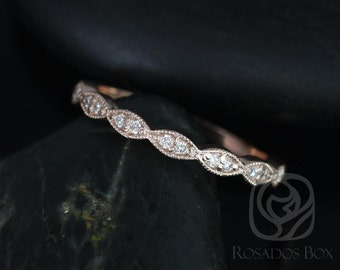 14kt Rose Gold Matching Band to Helena Leaves Diamond HALFWAY Eternity Band (Other Metals and Stone Options Available)