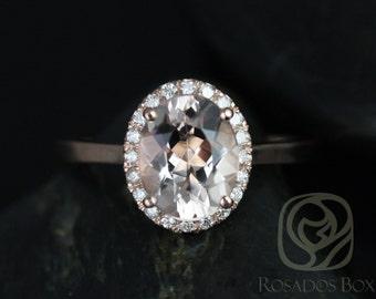Rosados Box Charlotte 10x8mm Original Size 14kt Rose Gold Oval Morganite and Diamonds Halo Engagement Ring