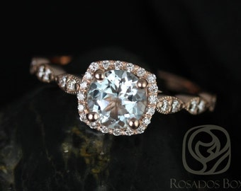 Christie 6mm 14kt Rose Gold Aquamarine and Diamonds Cushion Halo WITH Milgrain Engagement Ring (Other metals and stone options available)
