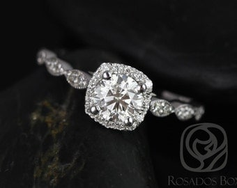Rosados Box Christie 3/4ct 14kt White Gold Round Diamond Cushion Halo WITH Milgrain Engagement Ring