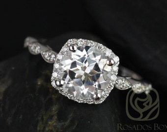 Christie 8mm 14kt White Gold Round White Topaz and Diamonds Halo WITHOUT Milgrain Engagement Ring (Other metals and stone options available)