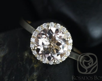 Rosados Box Monique 8mm 14kt Yellow Gold Round Morganite and Diamonds Halo Engagement Ring