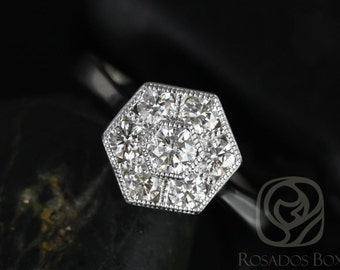 Mosaic Medio Size 14kt White Gold WITH Milgrain Diamonds Cluster Ring (Available in other metals)