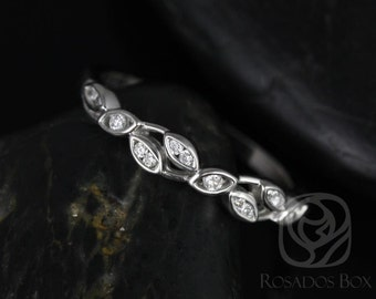 Rosados Box Ambrosia 14kt White Gold Thin Weaving Leaves Diamonds HALFWAY Eternity Band