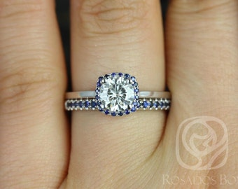 Rosados Box Bella 6mm & Kierra 14kt White Gold F1- Moissanite and Blue Sapphire Cushion Halo Wedding Set