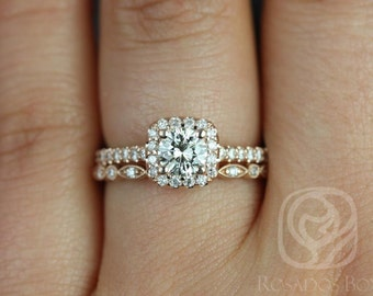 Conflict Free Mikena 1/2ct & Ult Petite Bd Eye 14kt Rose Gold Cushion Halo Diamonds Wedding Set (Other metals and stone options available)