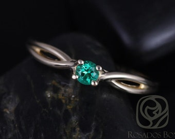 Erika 3.5mm 14kt Yellow Gold Round Rainforest Green Topaz Double Twist Engagement Ring (Other metals and stone options available)