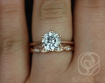 Skinny Webster 7.50mm & Ember 14kt Rose Gold F1- Moissanite Six-Prong Webbed Wedding Set(Other metals and stone options available)