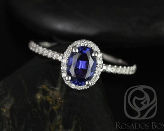 Federella 7x5mm 14kt White Gold Oval Blue Sapphire and Diamonds Halo Engagement Ring (Other metals and stone options available)