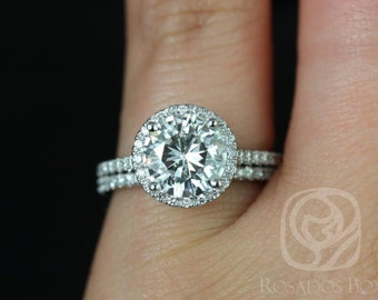 Rosados Box DIAMOND FREE Kubian 8mm 14kt White Gold Round F1- Moissanite and White Sapphires Halo Classic Wedding Set