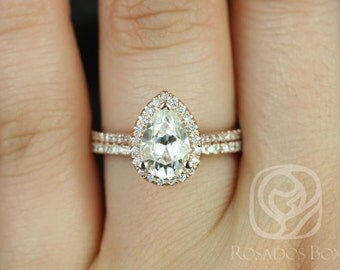 DIAMOND FREE Tabitha 9x6mm 14kt Rose Gold Pear F1- Moissanite and White Sapphire Halo Wedding Set (Other metals and stone options available)