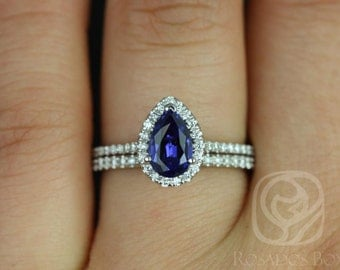 Tabitha 8x5mm 14kt White Gold Pear Blue Sapphire and Diamonds Halo Wedding Set (Other metals and stone options available)