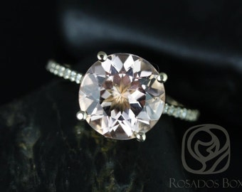 Eloise 10mm Size 14kt Yellow Gold Round Morganite and Diamond Engagement Ring (Other metals and stone options available)