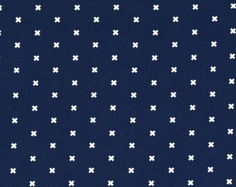 Cotton and Steel Basics - XOXO - Midnight Navy Blue - By the Half yard