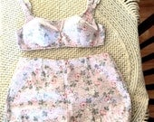 Vintage Swimsuit-2 Piece-Floral-Cotton-Size 14-Summer