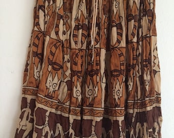 Ethnic print skirt in browns