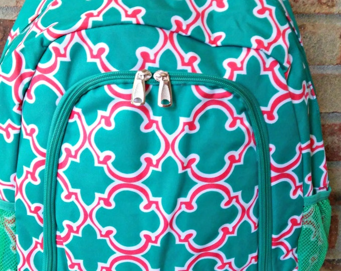 Girls Full Size Backpack/Personalized/Monogrammed/Quatrefoil backpacks/trendy teens backpack