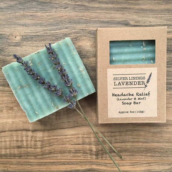 All-Natural Lavender & Mint Bar Soap for Headache Relief / Handmade Headache Relief Lavender Mint Soap / Lavender and Mint Aromatherapy Soap