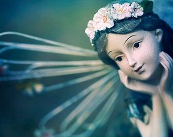 Vintage Angel Photograph - Fairy Wings, Religious, Catholic Wall Art, Fine Art Photography, Sepia Home Decor, Dreamer, Daydreamer