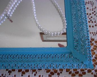 Vanity tray, turquoise perfume  tray, mirror with  filigree frame,boudoir tray jewelry tray blue tray