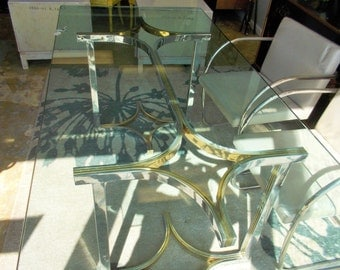 Milo Baughman Chrome and Brass Dining Table