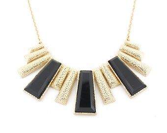 Elegant Gold-tone Black Cube Funky Statement Necklace,A17
