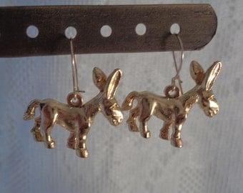 Donkey Earrings Pierced Earwires Bright Gold Tone Democrat Mascot Dangle Drop Animal Figural Vintage Jewelry Political Symbol Mule